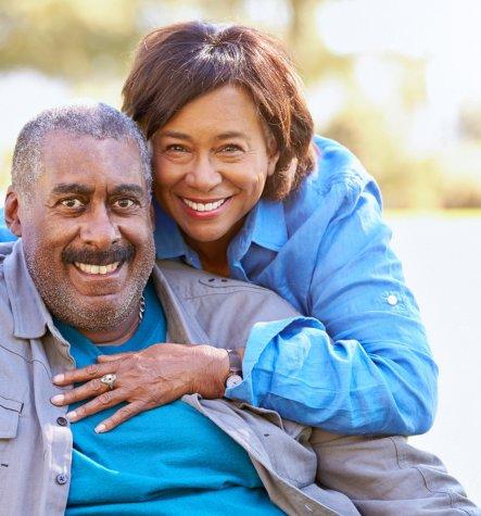 happy senior man with his wife