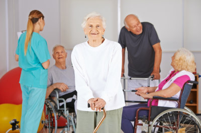 portrait of caregivers and seniors
